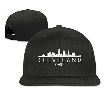 TODD Unisex Baseball Cap Cleveland City View Skyline Silhouette Adjustable Snapback Hat