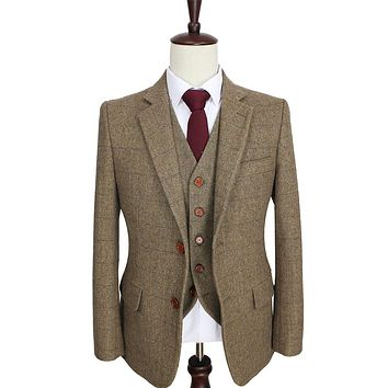 Tailor made slim fit suits for men retro Brown Herringbone Tweed wedding dress custom men 3 piece suit Blazers