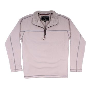 Bonded Polar Fleece & Sherpa Lined 1/4 Zip Pullover with Pockets in Ivory by True Grit - FINAL SALE