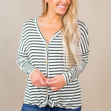 Striped Button Down Top-Ivory/Black