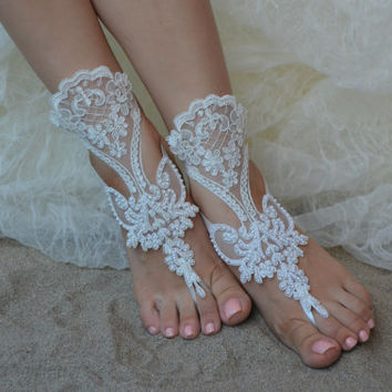 FREE SHIPPIN Organza Ivory Barefoot Sandals, Foot jewelry, Wedding, Victorian Lace, Sexy, Yoga, Anklet , Bellydance, Steampunk, Beach Pool