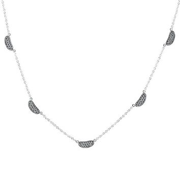 Gunilla CZ Pave Station Silver  Link Chain Necklace