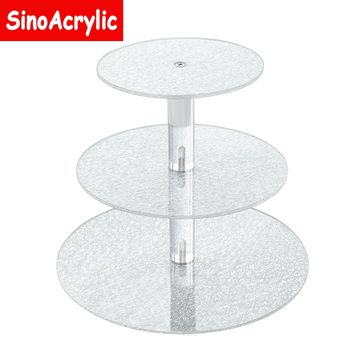 SinoAcrylic 3 Tier Round Cupcake Stand With Unique Silver Plate - Dessert Display Holders - Fantastic Stacked Party Cupcake Tree - Tiered Cake Stand - Cupcake Tower For Family Parties