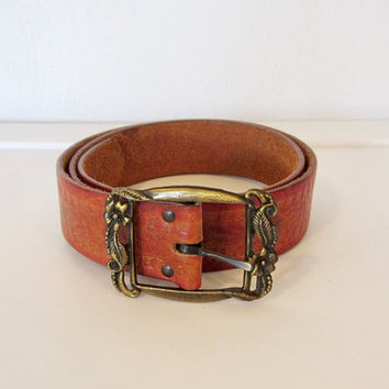 Vintage Boho Brown Belt / Floral Tooled Leather w/ Brass Floral Buckle