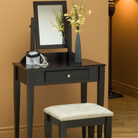 Cappuccino 2 Piece Vanity Set with a Micro-Fiber Stool