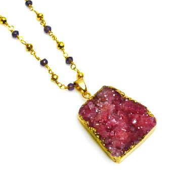 Druzy Pendant on Gold and Amethyst Rosary Chain