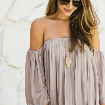 Nicole Grey Pleated Off the Shoulder Top