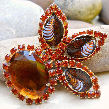 Carved Glass Topaz Amber Brooch, CATHE', Orange Rhinestones, Vintage