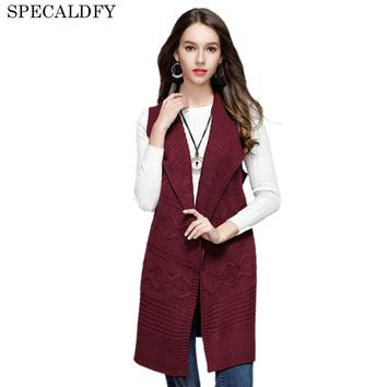 2018 Autumn Winter Long Cardigan Women Knitted Vest Coat Hooded Casual Sleeveless Veste Feme Cardigans Sweater Sashes