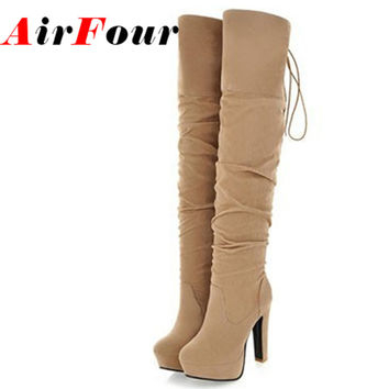 Airfour Big Size 43 High Heel Over the Knee Boots for Women Flock Tassel Ladies Long Boots Women's Winter Platform Boots Shoes
