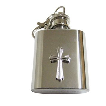Intricately Detailed Cross 1 Oz. Stainless Steel Key Chain Flask