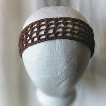 Brown silk linen headband Summer crochet hair band Unisex yoga hair accessory Men women  hair tie Up do's Boho Weddings Chocolate hair wrap