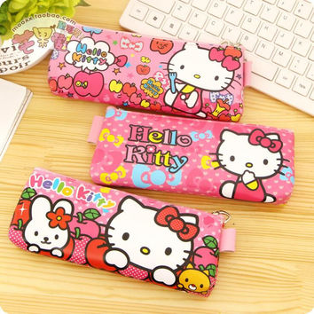 1 Piece Children Hello Kitty pencil case stationery bag cosmetic bag for girls pupil creative pen children's stationery