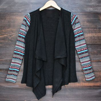womens lightweight open front cascading cardigan with print sleeves - black