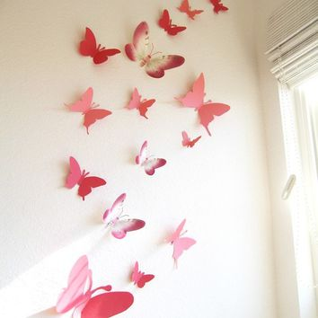 Captivating 30 3D Wall Butterflies, Paper, Wall Decor, 3D,Pink, Red,