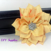 Yellow star chiffon flower with rhinestone center - wholesale flowers - headband supplies - chiffon flower - hair clip flower