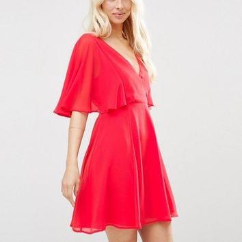 ASOS Wrap Front Mini Dress with Angel Sleeve at asos.com