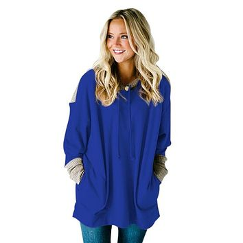Waffle Knit Splice Royal Blue Pocket Hoodie