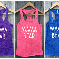 MAMA BEAR Workout Athletic Fitness Gym Mothers Day Gift Burnout Racerback Tank Top