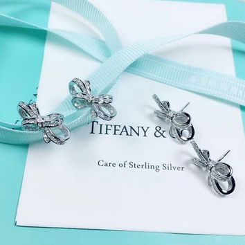 Tiffany & Co New Fashion Diamond Bow-Knot Sterling Silver Women Earring Accessories Silver
