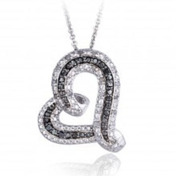 0.50ct TDW Black & White Diamond Floating Heart Necklace