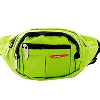 Pop Fashion Nylon Sport Fannie Pack with 4 Zipper Pockets (Green)