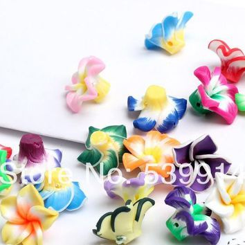 Free Shipping 20*9MM MIXED Fimo Charms Beads Polymer Clay Spacer Beads Handcraft Flower Fit Bracelets 100pcs/lot