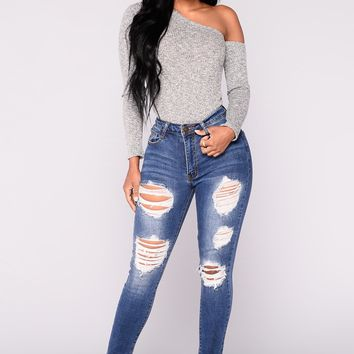Why Thank You Ankle Jeans - Medium Blue