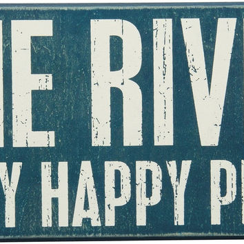 Vintage Style The River Is My Happy Place Turquoise Wooden Box Sign 27381 New