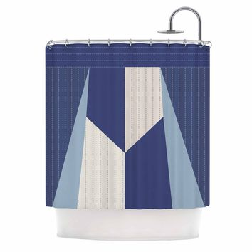 "afe images ""AFE Pinstripes"" Blue Beige Stripes Abstract Digital Illustration Shower Curtain"