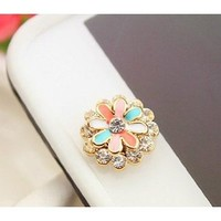 Brilliant Crystal Flower Iphone Home Return Keys Buttons Sticker For iPhone 4S iPhone 5 iPod Touch iPad Repair Fix Replace Replacement: Cell Phones & Accessories