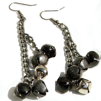 Long Dangle Earrings Bells and Chains Black and by PinchtheMuse