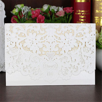 5pcs set Cream white Horizontal Laser Cut Wedding Invitation with White Hollow Flora Free shipping High quality