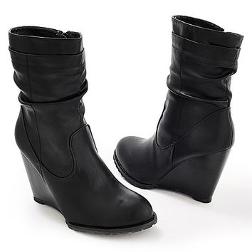 Women's Slouchy wedge bootie