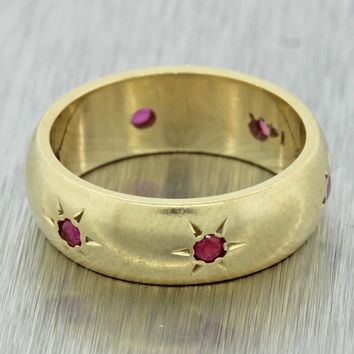 1920s Antique Art Deco 14k Gold Ruby 6mm Wide Gypsy Etched Wedding Band Ring