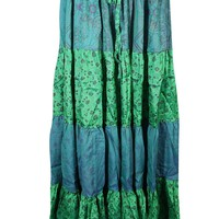 Mogul Womens Maxi Skirts Vintage Sari Festival Bohemian Gypsy Flared Tiered Skirts: Amazon.ca: Clothing & Accessories