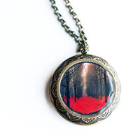 Red Picture Locket autumn forest brass and resin gifts by Raceytay
