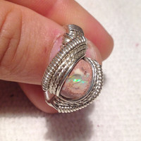SIZE 9 Multi color Boulder Opal sterling silver ring