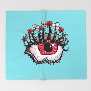 Eye Melt - Weird Red Eye With Flower Eyelashes Throw Blanket by borianagiormova