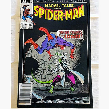 Spiderman 184, Spiderman Comic, Where the Lizard Crawls, Comics, Batman, Halloween, Vintage Comic, Marvel Legacy, Marvel Comic Book, 80s