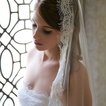 Diamond White Eyelash Lace Edge Veil, Mantilla veil with French Eyelash Lace, Lace Edge Wedding Veil, STYLE 327 - Waltz Length Bridal Veil