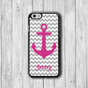 Customized Pink Glitter Grey Chevron iPhone 6/6S Case iPhone 5 / 5S iPhone 5C Personalized Christmas Gift Name Engrave iPhone 4 / 4S Lovely