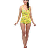 Vintage 1950s Style Pin Up Yellow Needlepoint Swimsuit