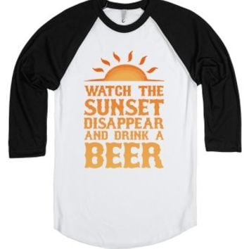 Watch the Sunset and Drink Beer-Unisex White/Black T-Shirt