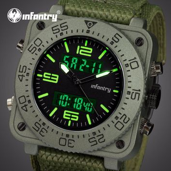 INFANTRY Mens Quartz Watches Relogio Masculino Nylon Strap Military Wristwatch Luminous Square Face Analog Digital Sports Watch