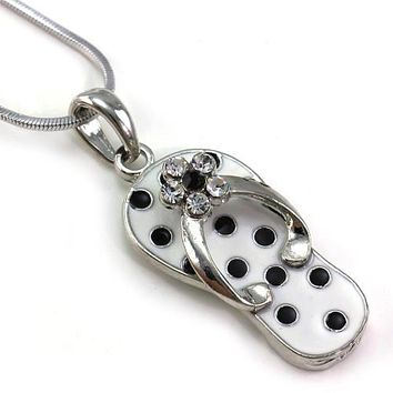 Black White Polka Dot Sandal Flip Flop Necklace