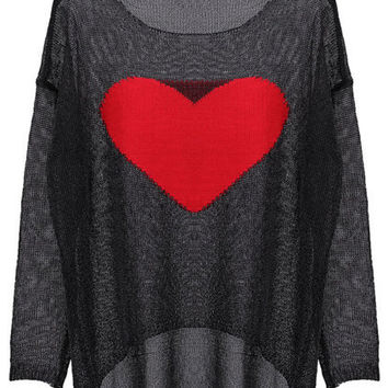 Sweetheart Black Jumper [NCSWD0127] - $45.70 :