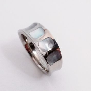 Mother of Pearl Shell Inlaid Stainless Steel Band Ring