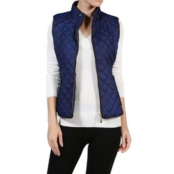 Quilted Padded Vest, Navy
