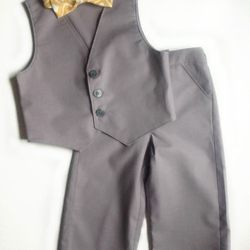 Baby Toddler Boys Suit Grey Vest, Shorts (Or Pants) and Tie Set- 3 Piece Suit - Ring Bearer- Wedding Suit- Formal- Wedding Attire